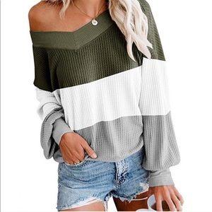 Colorblock Waffle Knit Sweater